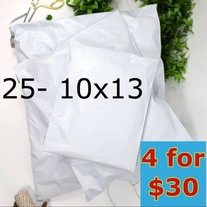 25- 10x13 White Solid Poly Mailers